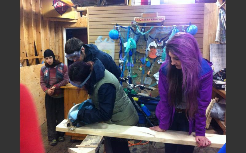 Participating at the Art Boat provides great learning opportunities! Anna and Nina get tool safety training  and learn to use the circluar saw..and overcome their nervousness!