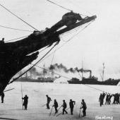 Sealers haul their ships through icy seas